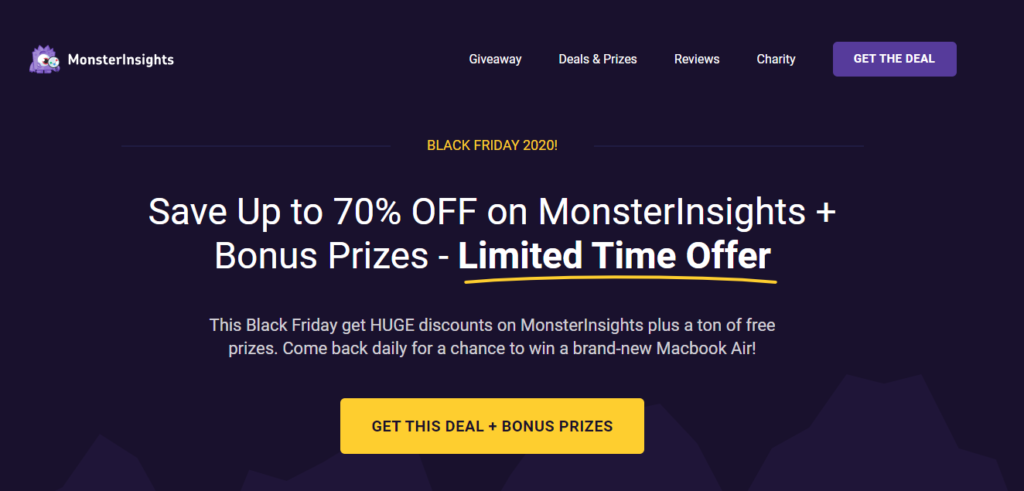 MonsterInsights Black Firday Sale 2020 page