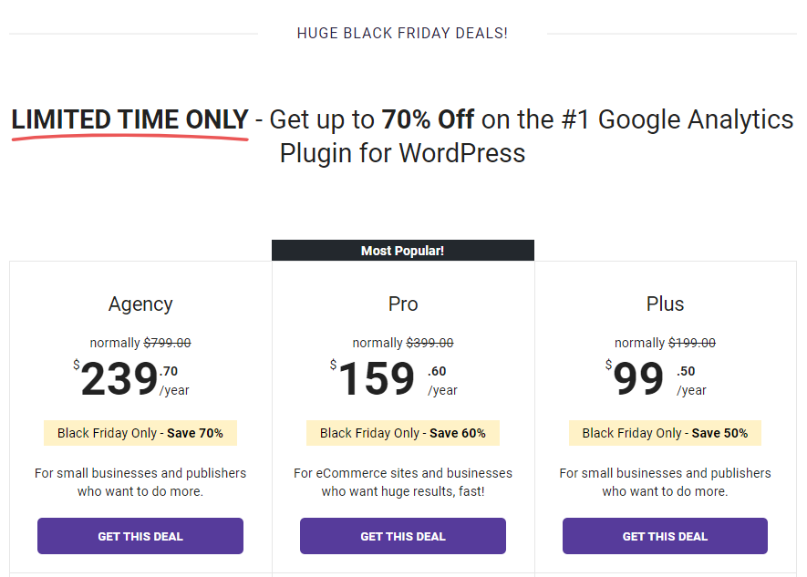MonsterInsights Black Friday Pricing