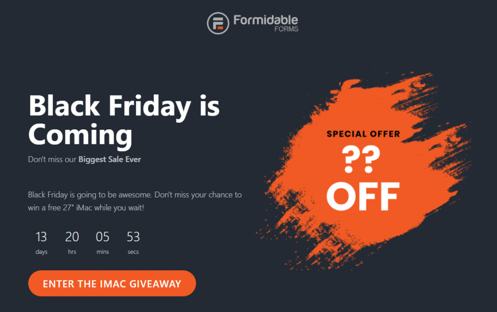 Formidable Forms Black Friday & Cyber Monday deal page
